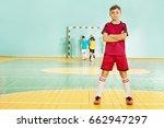 football player stands...   Shutterstock . vector #662947297