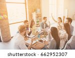 close up of successful team of...   Shutterstock . vector #662952307