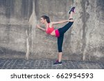 young fashionable sportswoman... | Shutterstock . vector #662954593