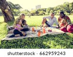 family picnic outdoors... | Shutterstock . vector #662959243
