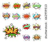 pop art comic speech bubbles | Shutterstock .eps vector #662959513