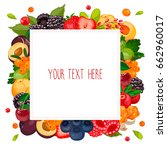 square label with berries.... | Shutterstock .eps vector #662960017