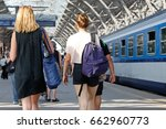 train passengers on the platform | Shutterstock . vector #662960773