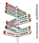 Small photo of Directional multilingual signs isolated on white background. Arrows with a various name languages and national flags symbols. Road direction signpost