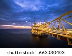offshore oil and gas rig... | Shutterstock . vector #663030403