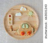car lunch plate  fun food art... | Shutterstock . vector #663031243