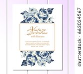 romantic invitation. wedding ... | Shutterstock .eps vector #663034567