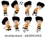 cartoon soccer kid with... | Shutterstock .eps vector #663041443