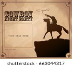 western cowboy night party... | Shutterstock .eps vector #663044317