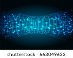 future technology  blue cyber... | Shutterstock .eps vector #663049633