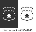 set police badge in flat style | Shutterstock .eps vector #663049843