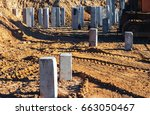 concrete pile foundation for... | Shutterstock . vector #663050467