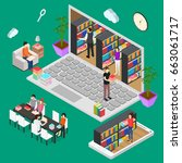 online reading isometric view... | Shutterstock .eps vector #663061717