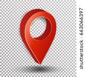 3d map pointer. red navigator... | Shutterstock . vector #663066397