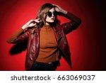 fashion model in sunglasses ... | Shutterstock . vector #663069037