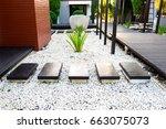black rocks walking way in... | Shutterstock . vector #663075073
