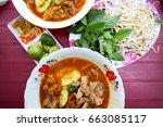 hu tieu nam vang  vietnamese... | Shutterstock . vector #663085117