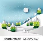 paper art landscape of...   Shutterstock .eps vector #663092467