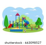 kids playground. buildings for... | Shutterstock . vector #663098527
