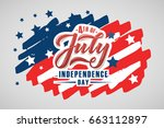 text 4th of july. independence... | Shutterstock .eps vector #663112897