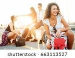 young beautiful explorer... | Shutterstock . vector #663113527