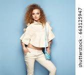 fashion portrait of woman in... | Shutterstock . vector #663125947