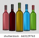 Set Of Realistic Wine Bottle O...