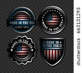 set of american icons on a dark ... | Shutterstock .eps vector #663131293