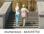 elderly woman and young... | Shutterstock . vector #663145753