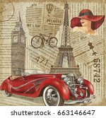 vintage poster paris london... | Shutterstock . vector #663146647