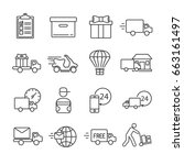 set of courier related vector... | Shutterstock .eps vector #663161497