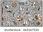 set of nautical cartoon... | Shutterstock .eps vector #663167533