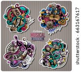 set of music cartoon stickers.... | Shutterstock .eps vector #663167617