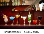set of classic alcohol... | Shutterstock . vector #663175087