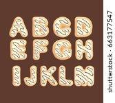 hand drawn latin alphabet a m... | Shutterstock .eps vector #663177547