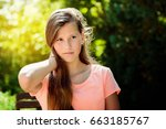 young teenage girl with long... | Shutterstock . vector #663185767