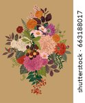 summer and autumn bouquet.... | Shutterstock .eps vector #663188017