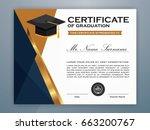 high school diploma certificate ... | Shutterstock .eps vector #663200767