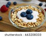 healthy diet breakfast with a... | Shutterstock . vector #663208333