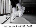 sneakers in flight | Shutterstock . vector #663213667