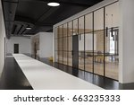 office lobby with glass and... | Shutterstock . vector #663235333