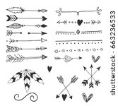 collection of handdrawn arrows... | Shutterstock .eps vector #663236533