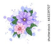 vector flower watercolor...   Shutterstock .eps vector #663239707