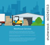 warehouse with forklift truck... | Shutterstock .eps vector #663241513