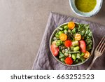 green salad with tomatoes ... | Shutterstock . vector #663252523