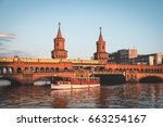oberbaum bridge and boat on... | Shutterstock . vector #663254167