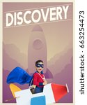 Small photo of Superhero kid boy with paper plane toy and aspiration word graphic