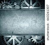 metallic gears background 3d... | Shutterstock . vector #663261307
