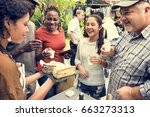 group of diverse people testing ... | Shutterstock . vector #663273313