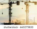 industrial construction cranes...   Shutterstock . vector #663275833